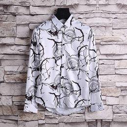 2017Autumn and winter Harajuku Medusa chain dog rose print shirt retro vintage flower polo shirt men's long-sleeved shirt