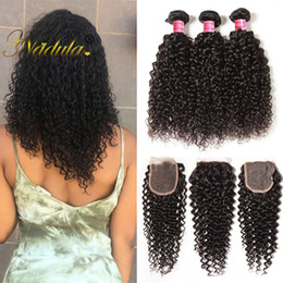 Nadula Brazilian Curly Hair Bundles With Closure 3-4Bundles With 1Free Lace Closure Hair Weave Virgin Hair Wefts With Closure WholesaleCheap