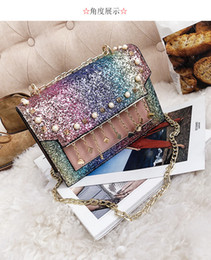 Bag female 2018 new wave Korean version of the wild sequins chain slung ins super fire girl shoulder fashion bag