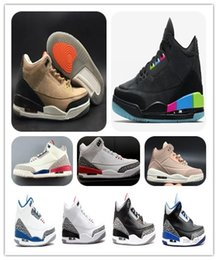 Cheap 3s Quai 54 Charity Game JTH Bio Beige Mens Basketball Shoes III Black White Cement True Blue Katrina Sports Sneakers Free Shippment