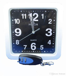 16GB Mini Clock Security DVR White Square Wall Clock Camera With 2.4GHZ Wireless Remote Control Home Security Camcorder