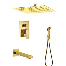 Wall Mounted 8 Inch Golden Rain Shower Faucet Dual Handles With Handheld Shower