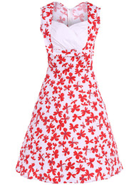 New Women Summer Sleeveless V Neck Dress Fashion High Quality Plus Size Cotton Flower Print Vintage Dress
