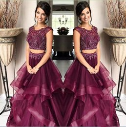 Modest Beading Two Pieces Prom Dresses Jewel Neck Capped Sleeves Zipper Back vestido de novia Crystals Evening Dresses Formal Party Gowns
