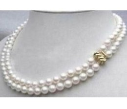 Noble Double Strands Natural 9-10mm South Sea White Pearl Necklace 17-18inch 14K Gold Clasp