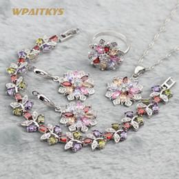 Multi-color Women Wedding Jewelry Sets - Wholesale Flower AAA Zircon Silver Plated Necklace Earrings Ring Bracelet For Women Rings Size 6-10