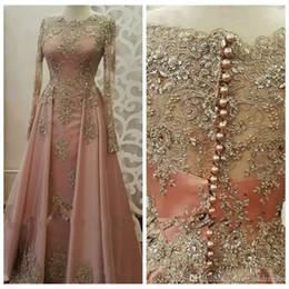 2019 Bateau Long Sleeves Formal Evening Dresses for Women Wear Long Sleeve Lace Appliques crystal Abiye Dubai Caftan Muslim Prom Party Gowns