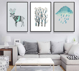 3 pictures of simple nature and deer Scandinavian home decoration home and garden layout room fashion murals