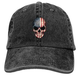 Baseball Cap for Men Women,American Flag Skull Snapback Curved Baseball Hats 100% Cotton Adjustable Hip Hop Caps for Unisex Dad Cap