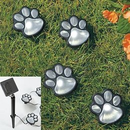 "Cute 4 Solar Dog Animal Paw Print Lights Garden Statue Lantern LED Path 3"" Light Lamp Decorative Garden Yard Lawn Lighting"