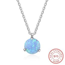 NE102642 simple style tiny pendants 2018 new promotional blue opal necklace 925 sterling silver s925 necklace wholesale