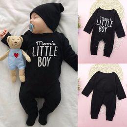 """Mom's Little Boy"" letter print Newborn Infant Baby Boy Long Sleeve Letter Print Cotton Romper Jumpsuit Playsuit Outfits Clothes 0-24M"