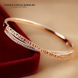 Rose Gold Color Austrian Rhinestones Double-Deck Cross Retro Rome Style Pave G Woman Bangle Bracelet Wholesale Fashion Gift