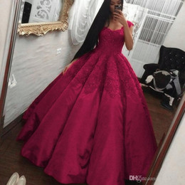 Plus Size Ball Gown Prom Dresses 2017 Sweetheart Appliques Lace Satin Floor Length Fuchsia Evening Dress Formal Party Gowns Wear Custom