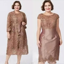 Modern Brown Short Sleeves Sheath Mother's Dresses with Full Lace Jacket Elegant Tea Length Mother of the Bride Dress Custom Made BC0279