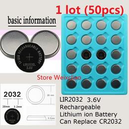 50pcs 1 lot LIR2032 3.6V Lithium li ion rechargeable button cell battery 2032 3.6 Volt li-ion coin batteries replace CR2032 Free Shipping
