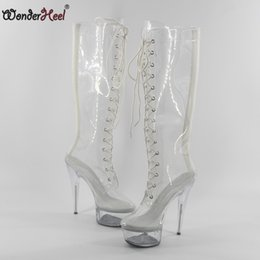 Wonderheel Hot Extreme high heel women pvc appr.15cm stilleto heels with platform lace up knee high boots sexy fetish boots