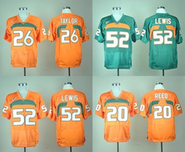Factory Outlet- Free Shipping Miami Hurricanes Ed Reed 20 Ray Lewis 52 Sean Taylor 26 New Brand Authentic orange College Football Jerseys
