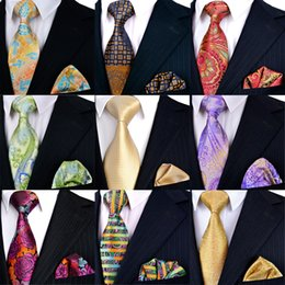 Tie Sets Pcs Wholesale Sale Handmade Mens Neckties Pocket Square 100% Silk Jacquard Woven Hanky Brand New Free Shipping New Arrival