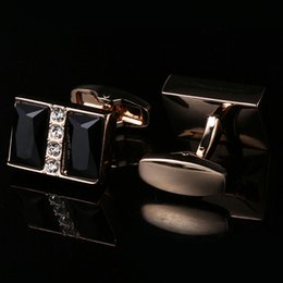 New Zircon French Cufflinks Gold Plated Double Black Crystal Men's Cufflinks free shipping