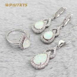 White Wedding Jewelry Sets - Wholesale Gourd White Opal White Zircon Silver Plated Pendant Drop Earrings Open Ring For Women Adjustable Ring