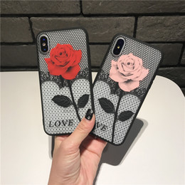 Luxury Rose Flower Case For iphone X 8 plus 7 Case Nylon Lace Flower Cover For 6 6S Phone Case DHL Free