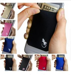 Elastic Stretchy Lycra Cell Phone Wallet Case Credit ID Card Holder Pocket Stick On 3M Adhesive Universally fits most Cell Phone free ship