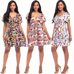 2018 Hot Sale Summer Flora Printed Sexy V-Neck Short Sleeve Beach Women Dresses Chiffon Sweet Style Pretty Lady Clothing Sundress