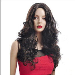 "24""women's wig Female Elegant Long Curly Wig Heat Resistant Sythentic Fashion Lace Front Wig Black Wave Human Hair"