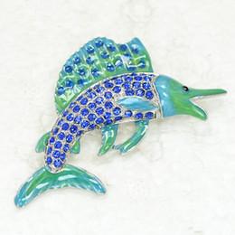 Wholesale C915 Crystal Rhinestone Enameling Swordfish Brooches Pins Jewelry gift