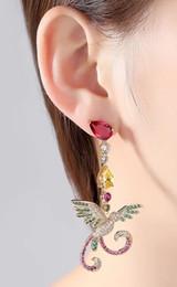 earrings with 3A colored diamond earrings unsymmetrical zircon earrings