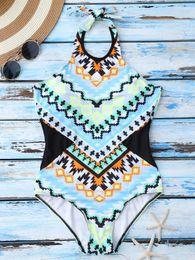 New Summer Vest Women Zipper Swimwear One Piece Printing Bkini Sexy Girls Swimwear