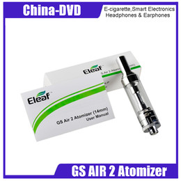Authentic GS Air 2 Atomizer 2ml Sub Ohm Vaporizers Tank Clearomizer 14mm Diameter Air Inflow Fit stick 510 Vape Box Mod