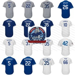 60th Patch 22 Clayton Kershaw 35 Cody Bellinger 5 Corey Seager Yasiel Puig Justin Turner Chris Taylor Baseball Jersey