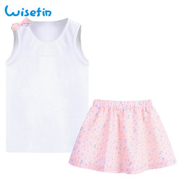 Wisefin 2018 New Summer Baby Set Skirt White Vest Pink Skirt 2 Piece Cute Floral Sleeveless Skirt 2-6-year-old Girl Summer Sets