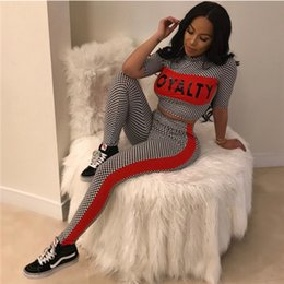 Letter Printed Half Sleeve Two Piece Sets Tops and Pants Women Fitness Tracksuit 2018 Summer New Arrival Plaid Sweat Suits Casual Sweatsuits