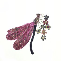 4.3 Inch multi color Insect Dragonfly rhinestone Brooches pins with Flower Purple Crystal for Lady