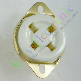 New 4pin Gold Ceramic vacuum tube socket top mount For 300B 2A3 audio amplifiers guitar HIFI parts