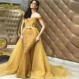 2019 Elegant Daffodil Off Shoulders Mermaid Evening Dresses Lace Sequins Beaded Prom Celebrity Gowns With Detachable Overskirts BC0363