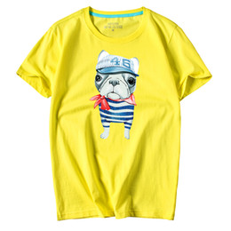 Casual Men's short sleeve O-Neck Hat Dog Printed large size T Shirts Summer High Quality Hipster tee shirts