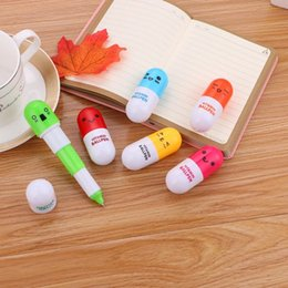 100 pcs set Creative Cute Pill Ballpoint Pen Student stationery Cartoon Expression Retractable Pen Gift Office And School Supplies