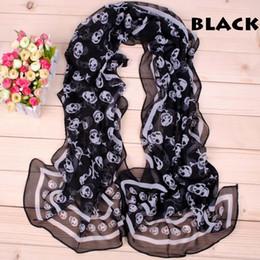 50x160cm Chiffon Gorgeous Women Scarves Scarf with skull designs Black and White Fashion Shawl Pashmina 2 Colour