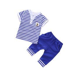 Fashion 2018 Summer Children Boys Girl Striped Clothes Baby Short T-shirt Pants 2 Pcs sets Kids Clothing Sets Toddler Tracksuits