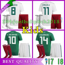 2018 Mexico World Cup Soccer jersey home green Kids kits socks CHICHARITO M FABIAN G DOS SANTOS New mexico child away white Football shirt