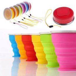 Folding silicone cup collapsible drink mug travel water bottle outdoor water cup with lid handgrip portable creative