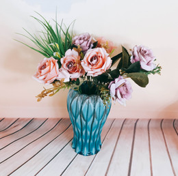 Sky bule Origami series style ceramic flower vase crafts Home