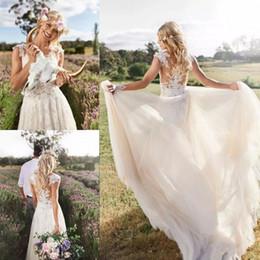 Bohemian 2020 Appliqued Lace Beach Wedding Dresses Sheer Neck A Line Bridal Gowns Custom Boho Country Wedding Dress Custom Vestidos De Novia