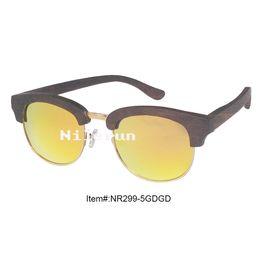 fashion high quality oval half frame mirror orange polarized lens ebony wood sunglasses