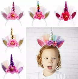 2018 unicorn party supplies baby headbands for girls artificial flowers head band kids shiny bunny hair accessories rabbit ears hairbands