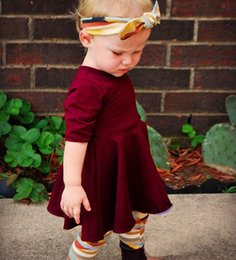 Wholesale 2017 Kids Girls Wine Red Clothing Baby Three Pieces Sets Children Autumn Suits Headband And Dress And Leggings For 80-120